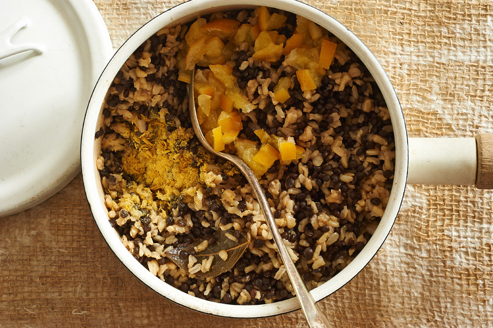 Soothing Brown Rice and Lentils with Preserved Lemon