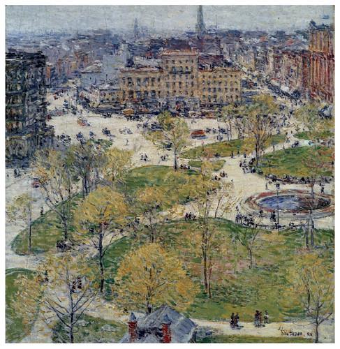 005 Union Square en primavera- 1896- Pintura al oleo- Childen Hassam