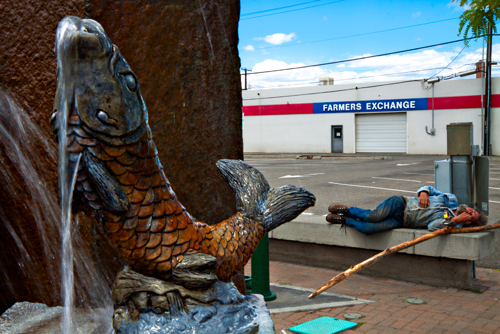 Fish-fountain-and-sleeping-homeless-man--Kennewick