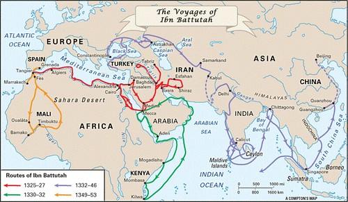 carte des voyages d' Ibn Battuta