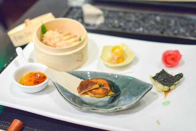 zensai lobster shumai, ankimo, big eye tuna, kanpachi ceviche