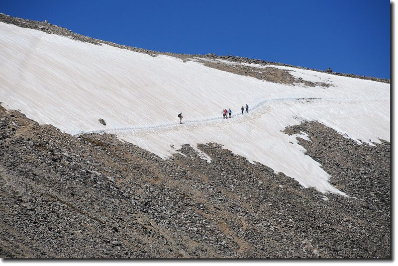 The snowfield below the saddle