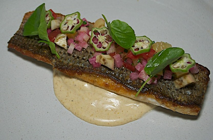 Striped bass with heirloom tomato tartare, pickled eggplant, and ...