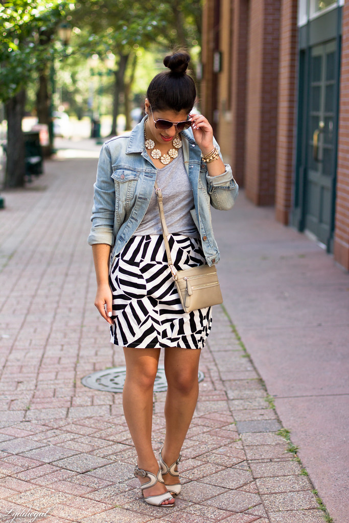 black and white skirt, grey tee, denim jacket-3.jpg