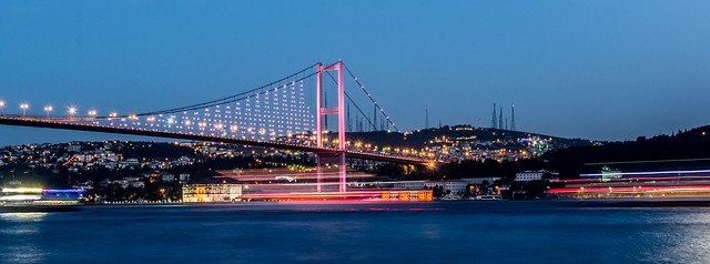 Ships on the Bosphorus and the Bridge, Istanbul