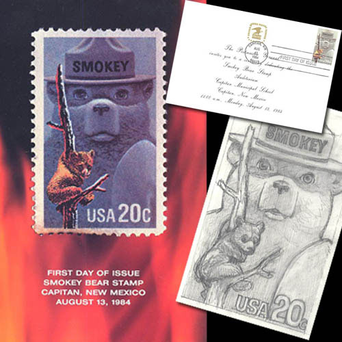 In 1984, the U.S. Postal Service issued a Smokey Bear stamp. The stamp is no longer in production, but Smokey still gets fan letters at Smokey Headquarters, Washington, D.C., 20252. U.S. Forest Service photo.