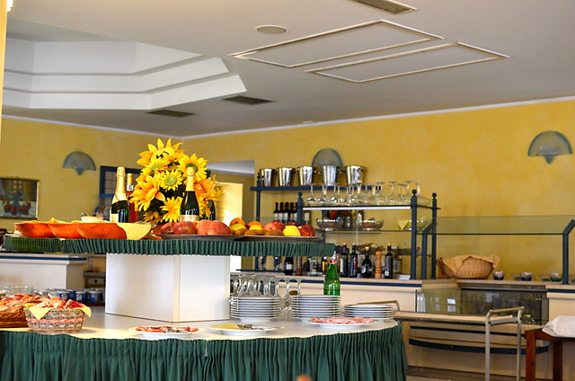 Breakfast in Hotel Restaurant Torre Imperiale, Maccagno, Varese, Italy