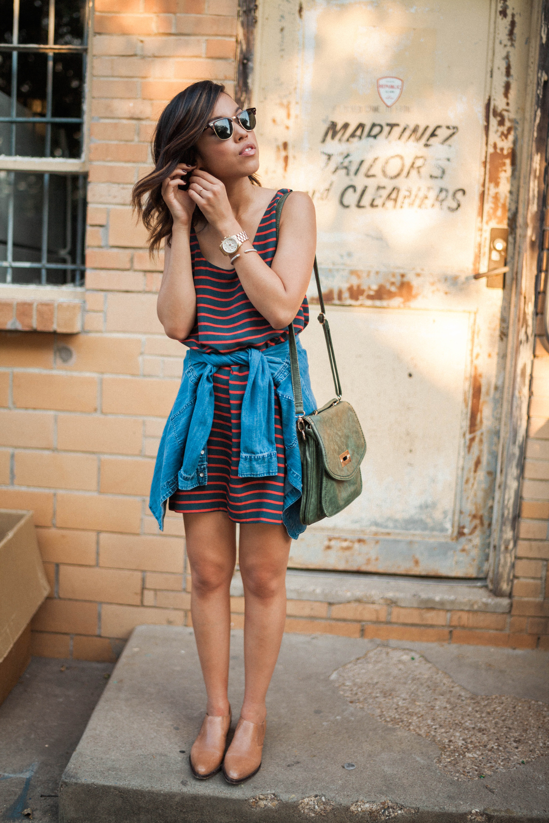 Striped Joie Dress and Madewell Denim