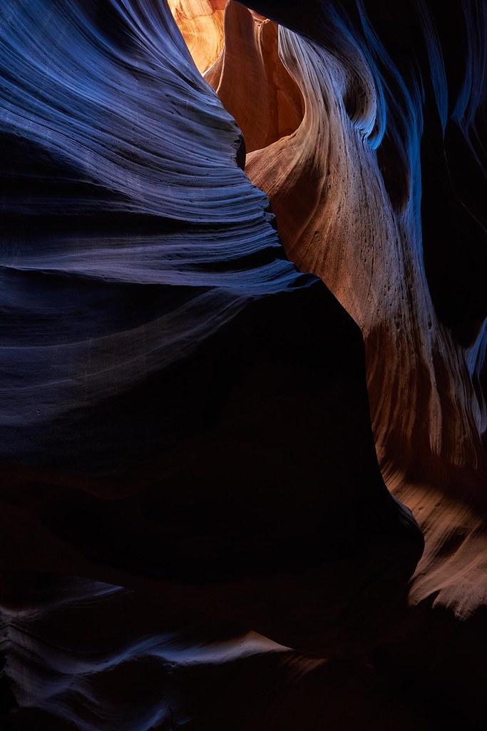 Blue neonlight in Upper Antelope Canyon