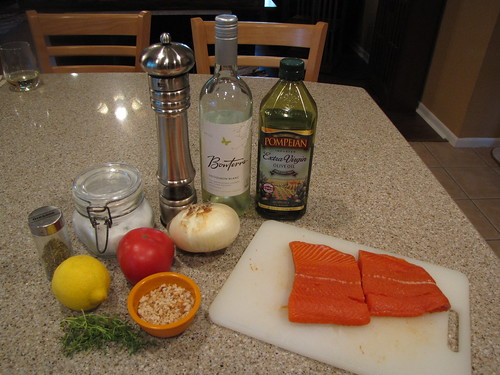 Poached Salmon with Scalloped Tomatoes Ingredients