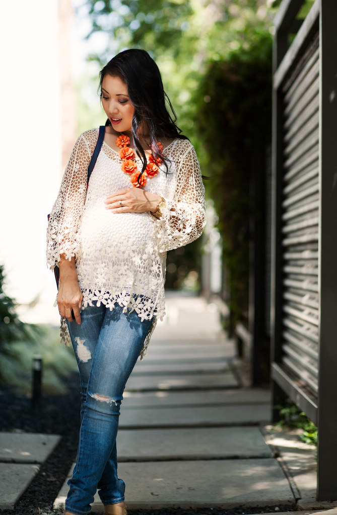 Crochet Top   Distressed Maternity Jeans // 16 Week Bump - cute ...