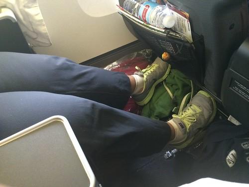 Ample leg room in premium economy