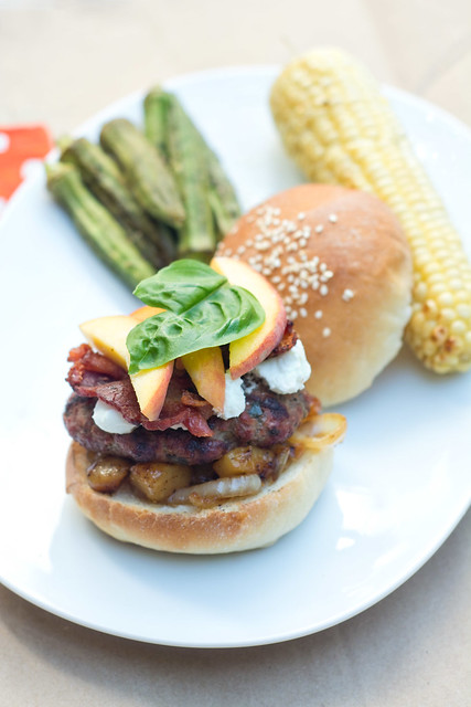 Peach Chutney Burgers with Bacon and Goat Cheese