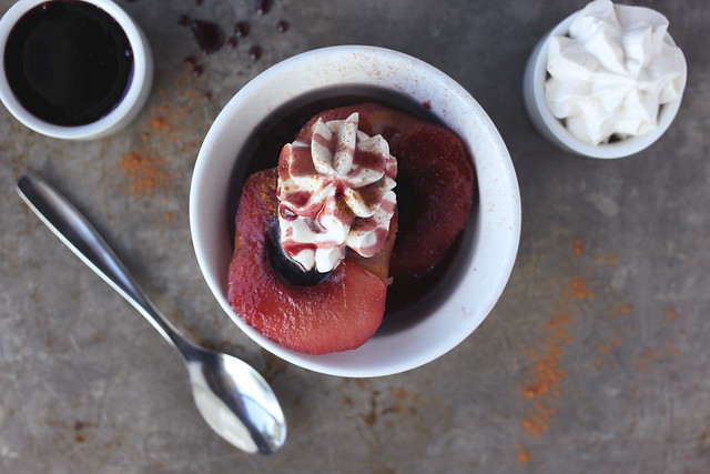 Red Wine Poached Apples and Pears with Cinnamon Whipped Coconut Cream