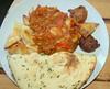 Spicy Vegetable Bhuna, Onion Bhaji, Samosa and Nann Bread