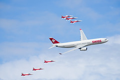 Patrouille Suisse Escorting a Swiss A330