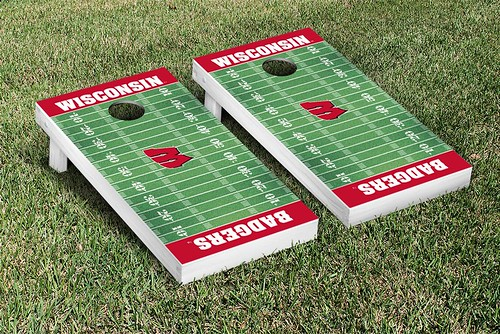 Wisconsin Badgers Cornhole Game Set Football Field Version