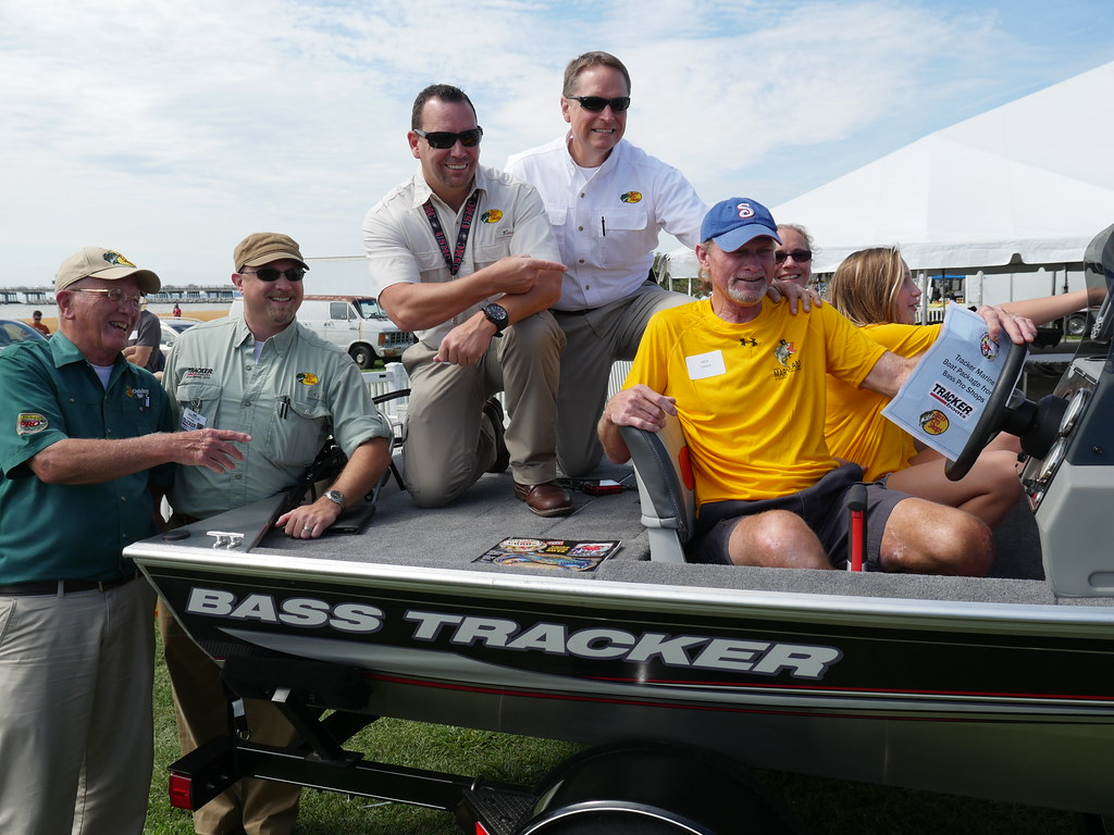 Last year's boat package winner, Rick Snider of Biglerville, Pa. Prize sponsored by Bass Pro Shops and Tracker Boats.