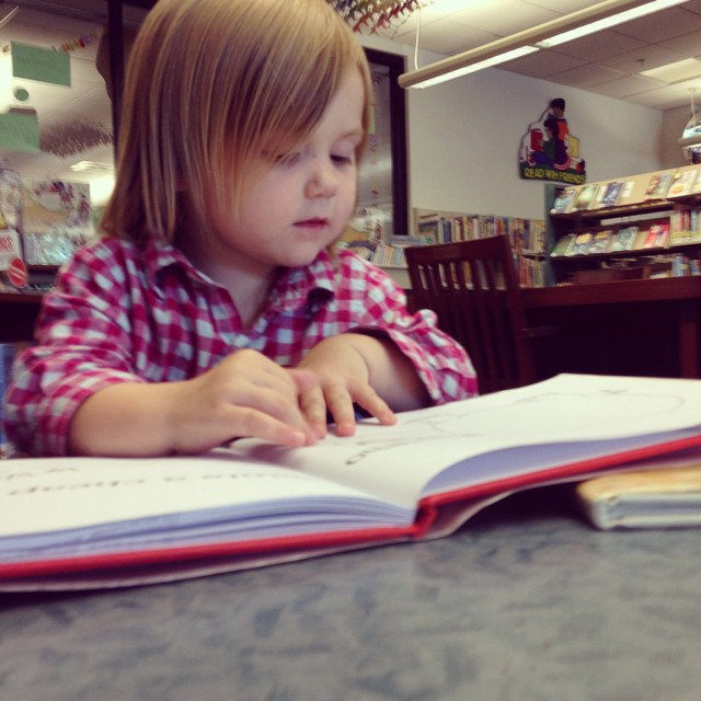 "At the library. (I'm hoping we can make this one of our regular ""Friday afternoons with M and mama"" activities!)"