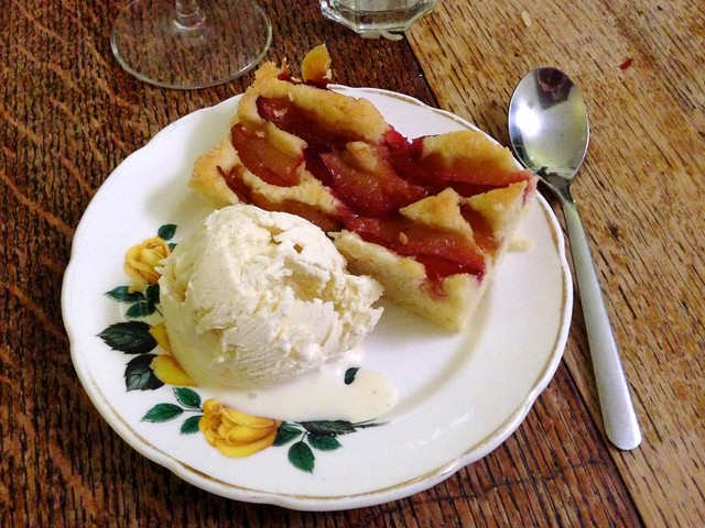 Plum Cake with Homemade Vanilla Ice Cream