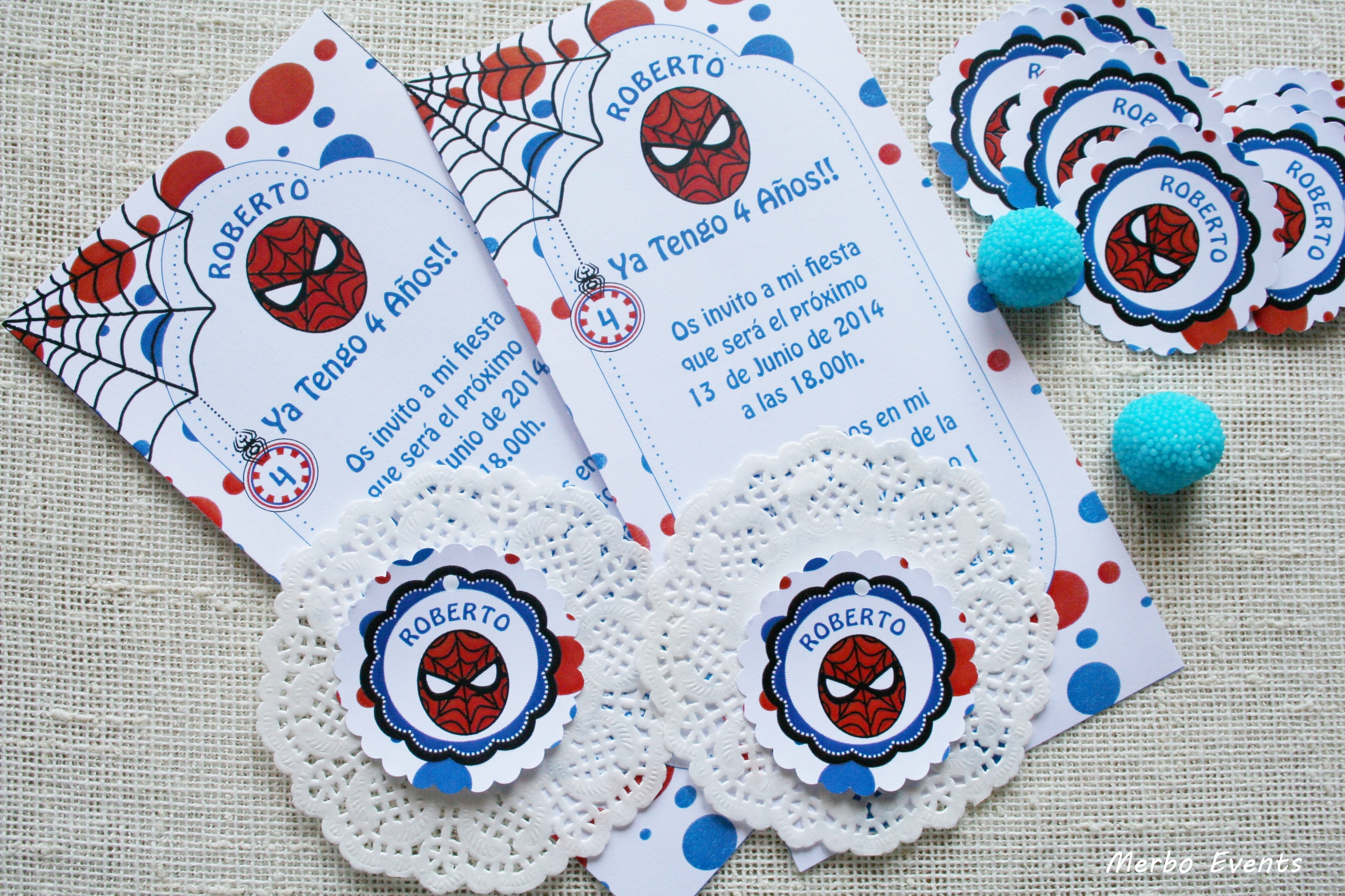 Invitaciones fiesta spiderman Merbo Events