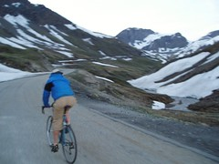 Mike Cycling up to the Col Image
