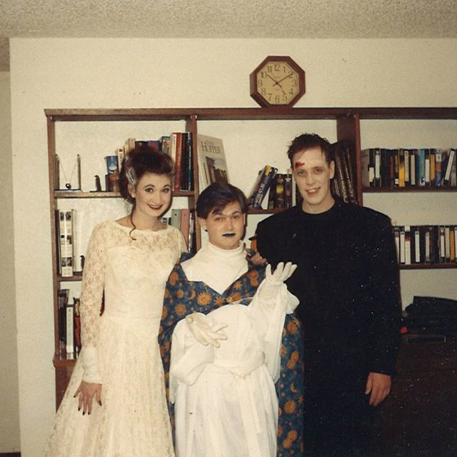 #tbt Hallowe'en edition. The early '90s, Iowa City, with my friends/housemates Linda and Brook. I meant to be dressed as The Man in the Moon, but everyone insisted on calling me