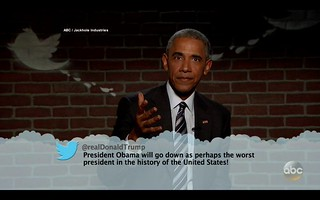 Barack Obama reads Mean Tweet from Donald Trump.