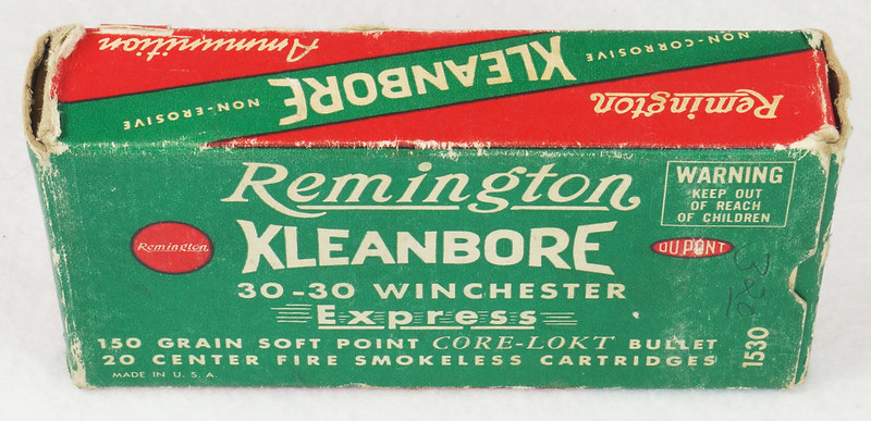 RD14567 Vintage Remington KLEANBORE 30-30 Express 150 gr. Soft Point SMOKELESS Ammo Box & 20 Brass Casings DSC06971