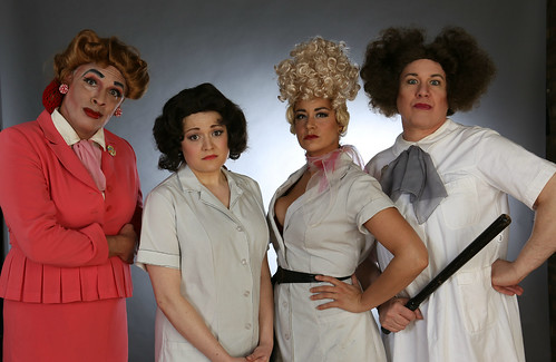 Meet the Dames of Calumet City           From left- Warden Hope (David Cerda), Mary Anderson (Elizabeth Morgan), Big Lorraine (Sydney Genco) and Matron Emerson (Ed Jones)
