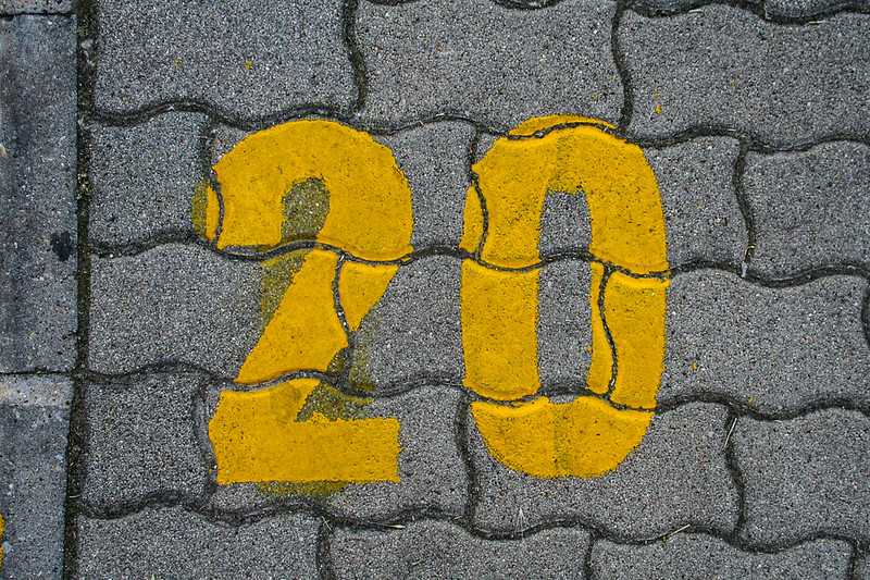 Yellow grunge number - 20