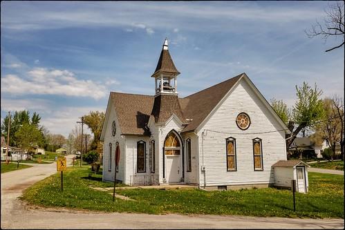 church clouds corner unitedstates religion towers missouri relics smalltown smalltowns fotoedge oldtimereligion edgertonsaintjoseph