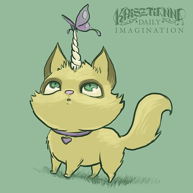 #DailyImagination of a uni-kitty and butterfly. #art #sketch #procreate