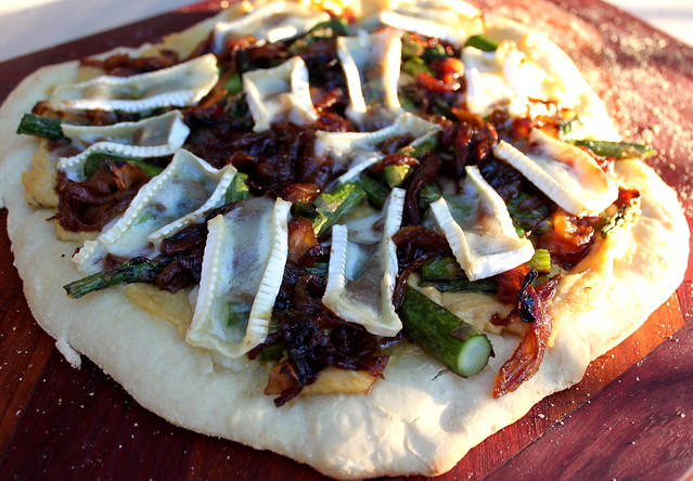 ... : Grilled Pizza with Asparagus, Caramelized Onions, Hummus and Brie