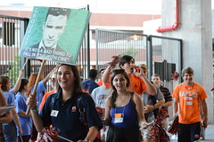 Incoming freshmen and their camp counselors arrive for the Camp War Eagle pep rally at Jordan-Hare Stadium.