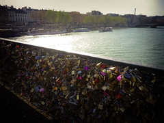 Lovers' locks on Pont des Arts