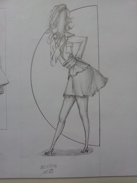 fashion illustration, sketch, hair