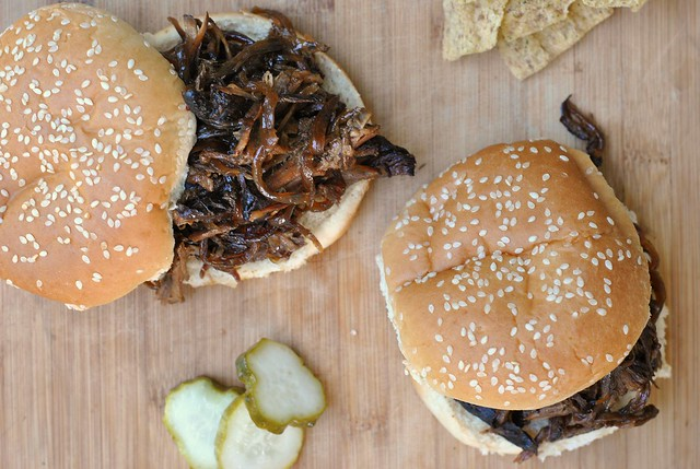 Slow Cooker Pulled Pork with Bourbon-Peach Barbecue Sauce 2