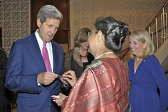 With Embassy New Delhi Chargé D'affaires Ambassador Kathleen Stephens looking on, U.S. Secretary of State John Kerry meets with members of the Indian business community at the Roosevelt House in New Delhi, India, on July 30, 2014. [State Department photo/ Public Domain]