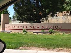 Driving through the University campus in Albuquerque