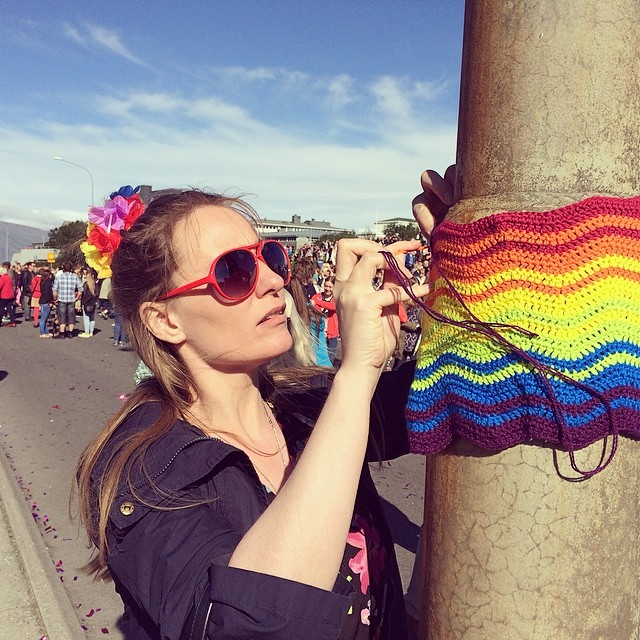#yarnbombing #yarngraffiti #yarnstorming #gaypride #reykjavíkpride #reykjavík #iceland