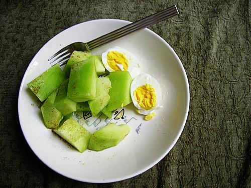 hardboiled eggs and honeydew