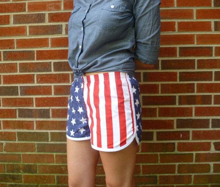 Patriotic American Flag Prefontaine Shorts side close up by Hey, It's SJ