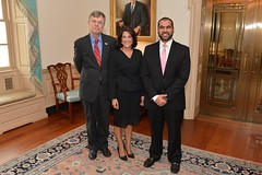 Ms. Dana Shell Smith poses for photo with Under Secretary for Management Patrick F. Kennedy and Ahmed Al-Sobai, a senior official at the Qatari Embassy in Washington, at her official swearing-in ceremony to become the U.S. Ambassador to Qatar at the U.S. Department of State in Washington, D.C., on July 24, 2014. [State Department photo/ Public Domain]