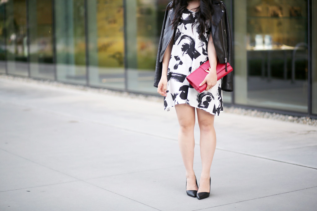 dress with leather jacket