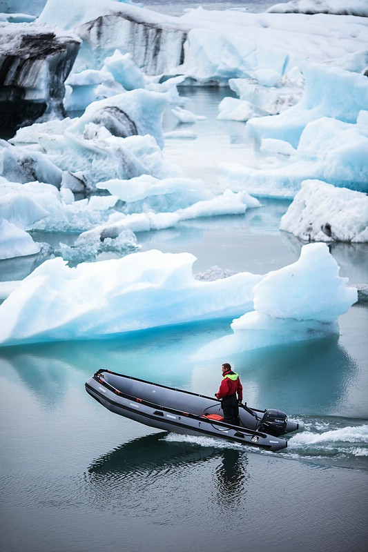 Inflatable boat at glacier lagoon Jökulsárlón