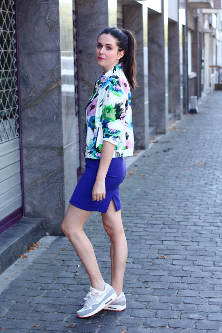 nike air max outfit floral jacket pencil skirt