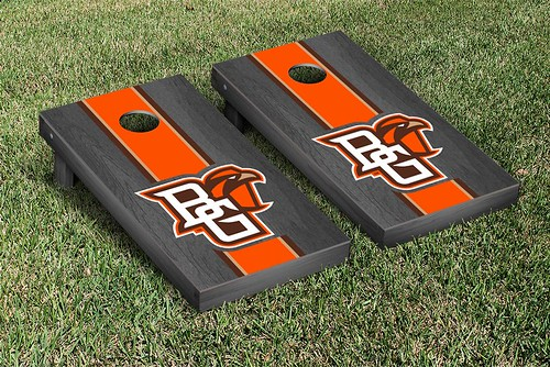 Bowling Green Falcons Cornhole Game Set Onyx Stained Striped Wooden
