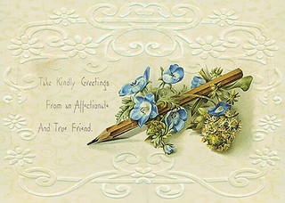 Take kindly greetings with  blue flower