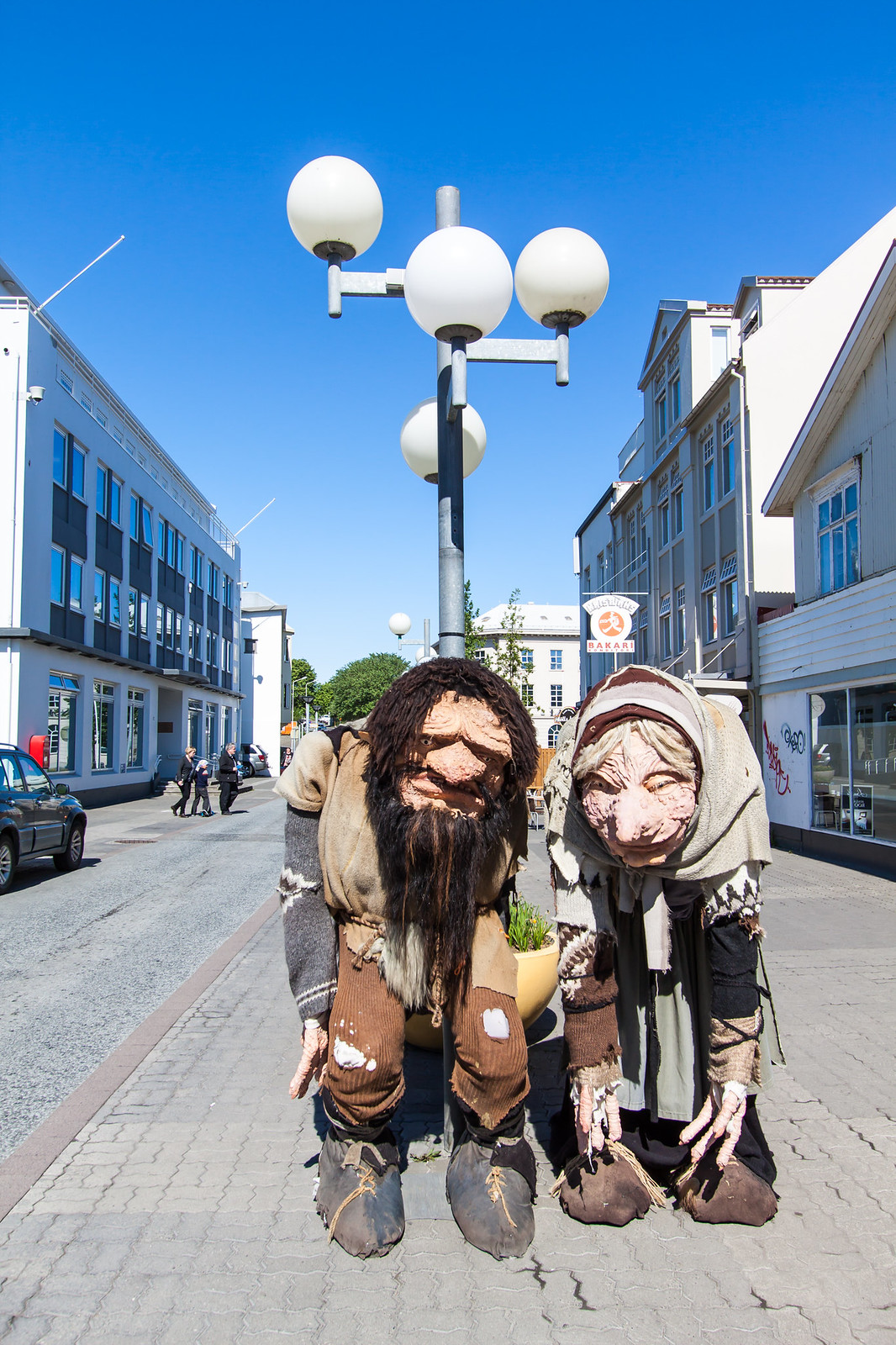 Akureri Town. Trolls on main street